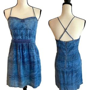 American Eagle Outfitters Dress Cross Straps Blue